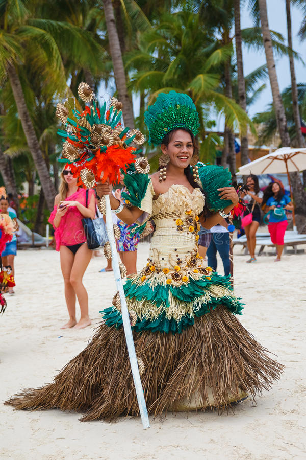 Festival ATI-Atihan on Boracay, Philippines. Is celebrated every. Year in late January. Parade in carnival costumes stock images
