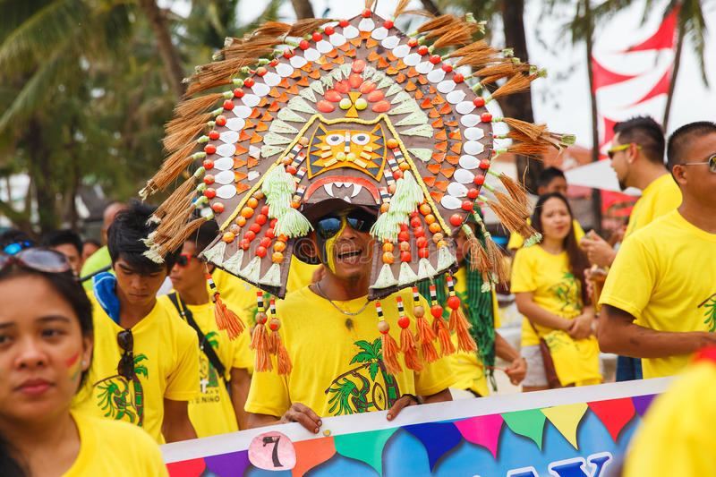 Festival ATI-Atihan on Boracay, Philippines. Is celebrated every. Year in late January. Parade in carnival costumes stock photography