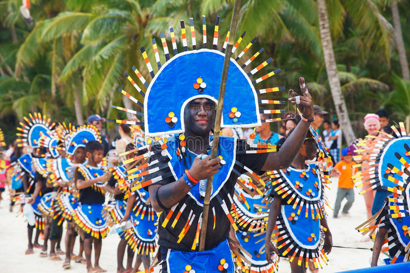 Festival ATI-Atihan on Boracay, Philippines. Is celebrated every. Year in late January. Parade in carnival costumes stock image