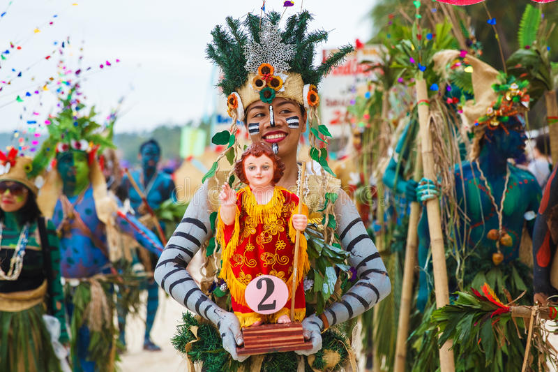 Festival ATI-Atihan on Boracay, Philippines. Is celebrated every. Year in late January. Parade in carnival costumes royalty free stock photography