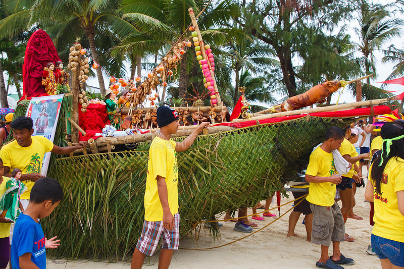 Festival ATI-Atihan on Boracay, Philippines. Is celebrated every. Year in late January. Parade in carnival costumes royalty free stock photos