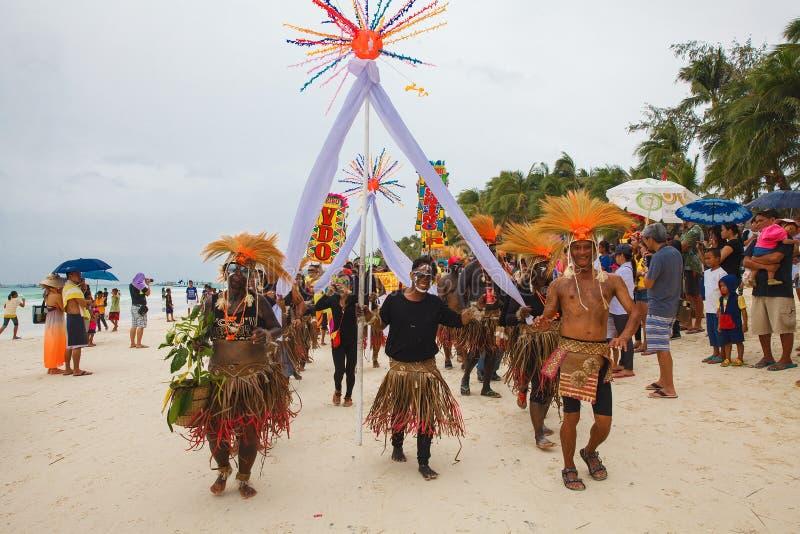 Festival ATI-Atihan em Boracay, Filipinas É o cada comemorado imagem de stock royalty free