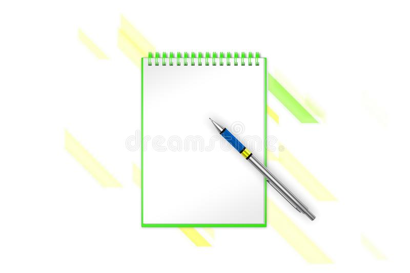 Festival blank notepad with diagonal blocks and diagonal lines on background to add any text. 3d illustration stock illustration