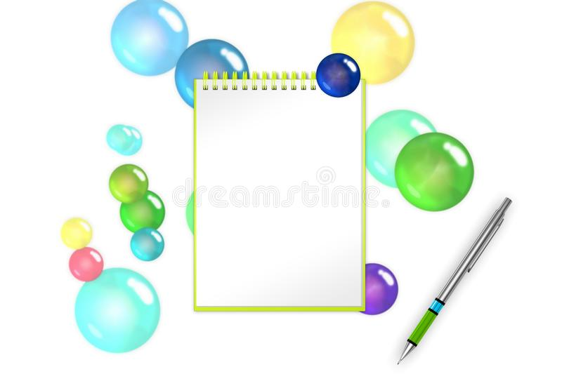 Festival blank notepad with sapphire bubbles and spheres background for greets adding. 3d illustration royalty free illustration