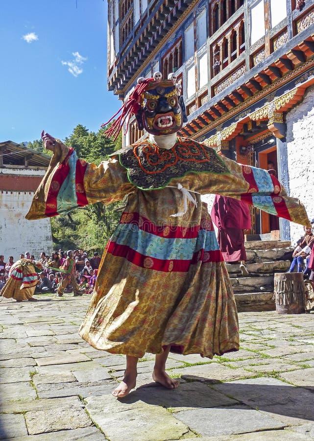 Festival budista tradicional em Bumthang, Butão imagem de stock