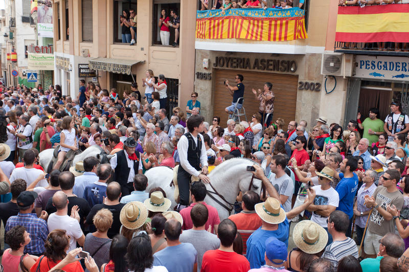 Festival of bulls and horses in Segorbe. Spain, September 14, 2013. Annually the Holiday attracts more than 200 000 people royalty free stock photo