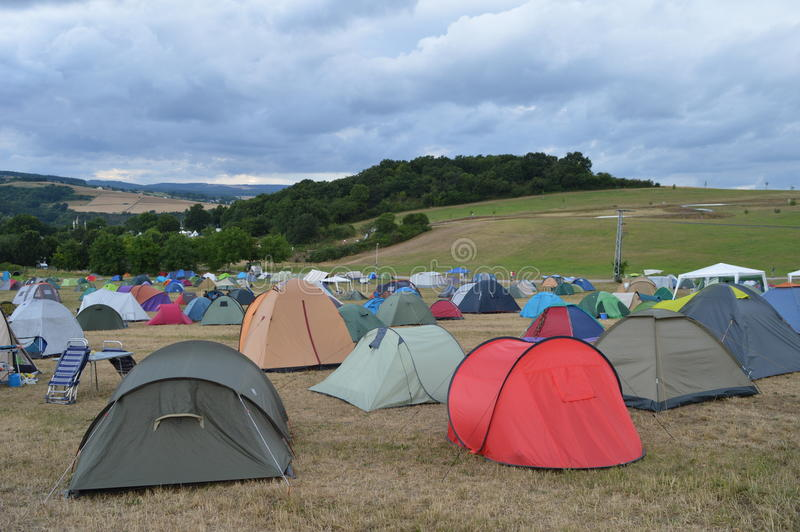 Festival campsite with sky. Campsite at Heavy Metal festival in Germany royalty free stock image