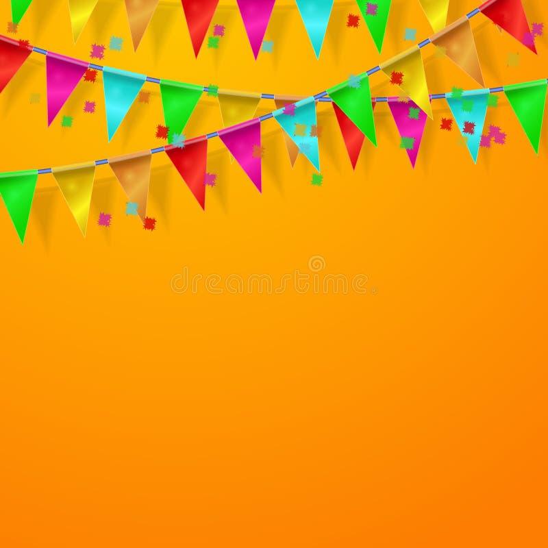 Festival, Carnaval, vierings oranje achtergrond stock illustratie