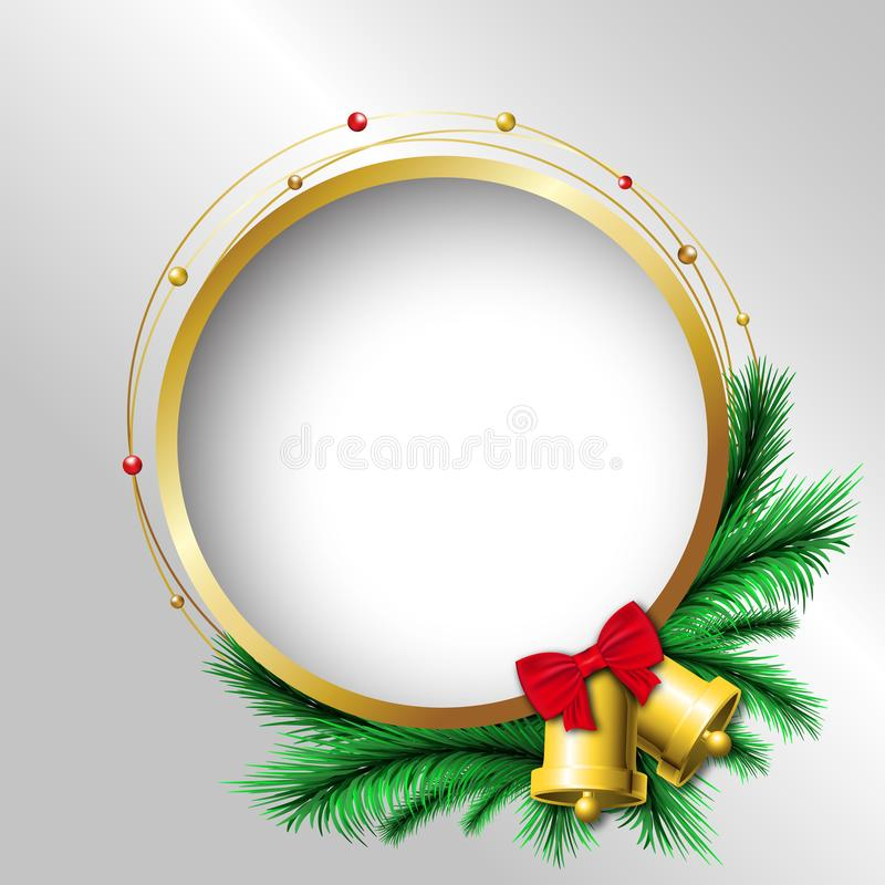 Free Festival Celebration, Christmas, New Year, Gold Circle Frame, Pine Leaf And Bell Decoration, Silver Background, Isolated Vector Stock Photography - 164425292