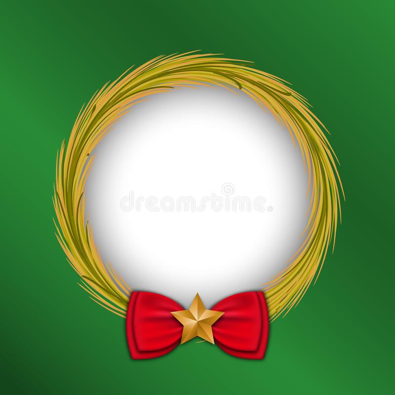 Festival celebration, christmas, new year, gold wreath circle frame, ribbon decoration, green background, Isolated vector design royalty free illustration