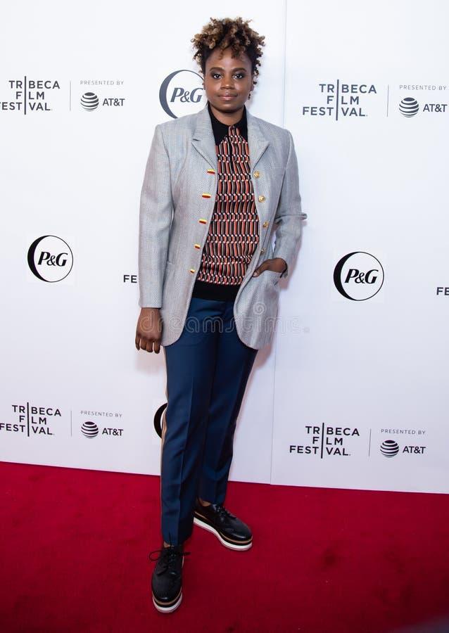 Festival cinematografico di Tribeca - tappeto rosso prima del prima della collettività della regina immagine stock libera da diritti