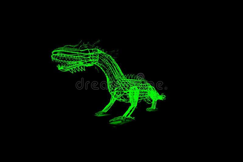 Festival claro da mostra, escultura de néon do dragão verde em um fundo preto imagens de stock royalty free