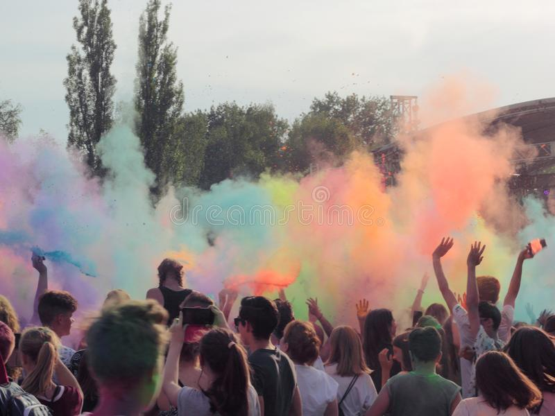 Festival of colors, Chorzow stock photos