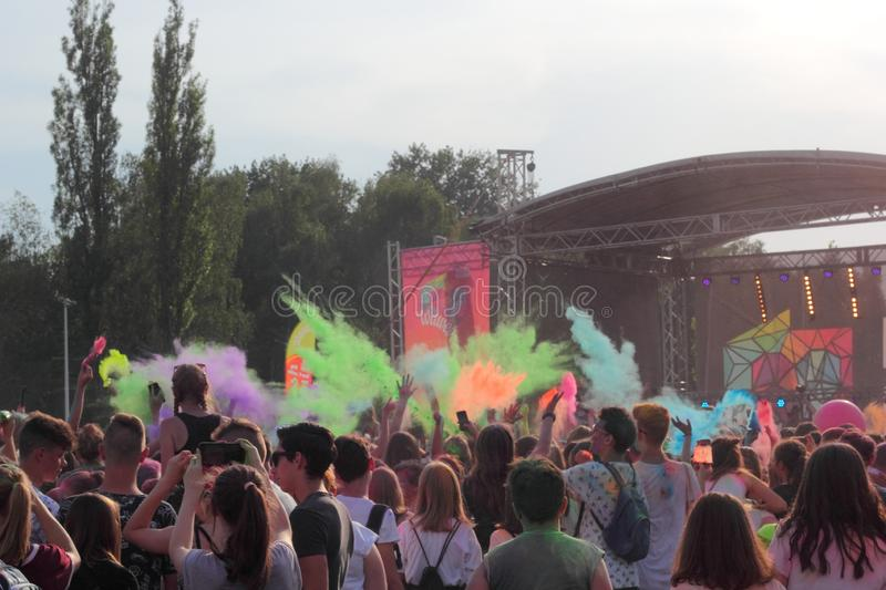 Festival of colors, Chorzow, Poland stock photo