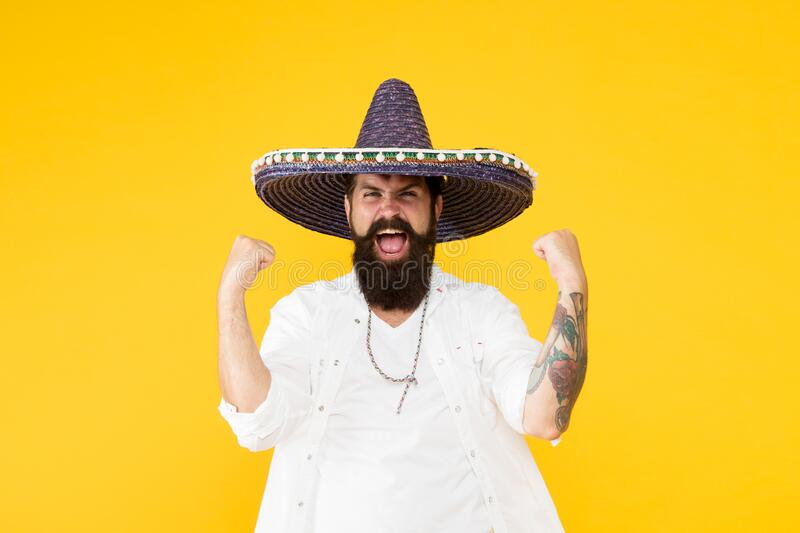 Festival concept. Hipster having fun. Mexican performer. Mexican traditions. Explore mexican culture. Celebrate royalty free stock photo