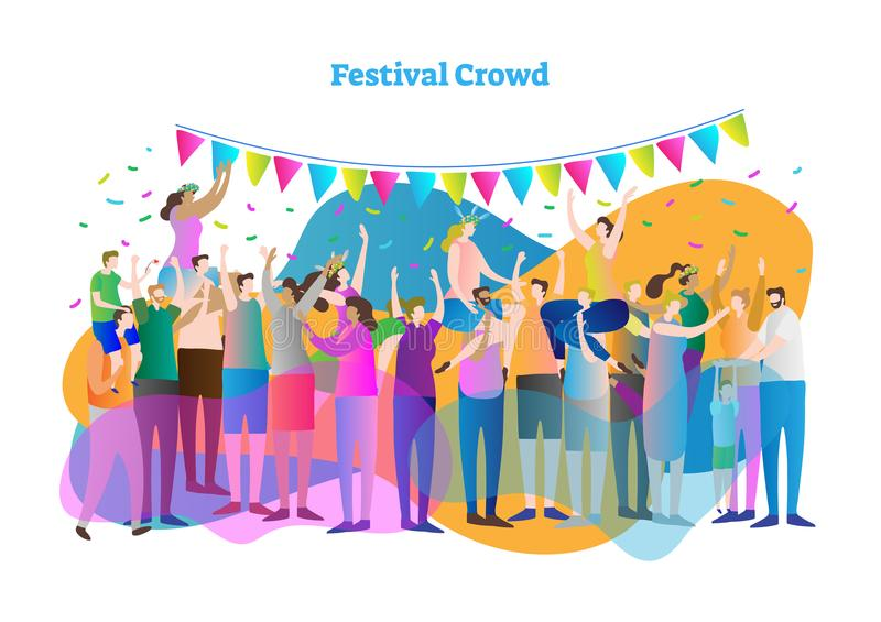 Festival crowd vector illustration. Mass group of fans and spectators dance, clap and view concert, entertainment or celebration. vector illustration