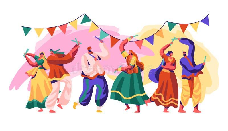 Festival da Índia Comemore o dia do feriado no país Estilo tradicional da dança para incluir a fusão refinada e experimental de c ilustração royalty free