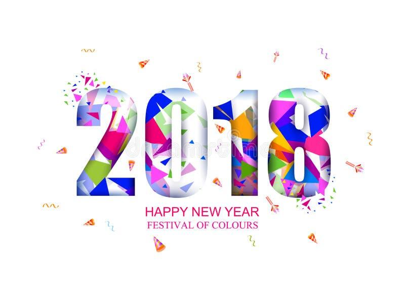 Festival da Índia do fundo 2018 feliz de Holi da cor ilustração stock