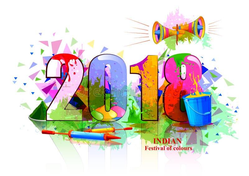 Festival da Índia do fundo 2018 feliz de Holi da cor ilustração royalty free