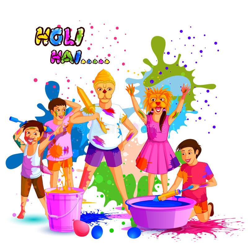Festival da Índia do fundo feliz de Holi da cor ilustração do vetor