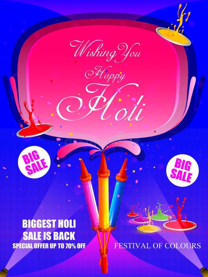Festival da Índia do fundo feliz da venda da propaganda de Holi da cor ilustração royalty free