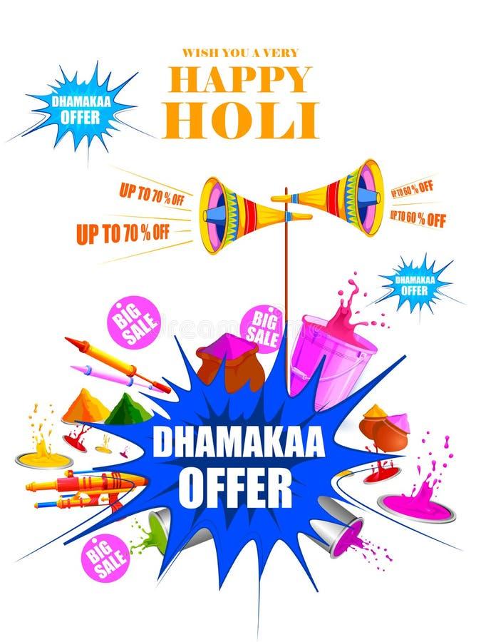 Festival da Índia do fundo feliz da venda da propaganda de Holi da cor ilustração stock