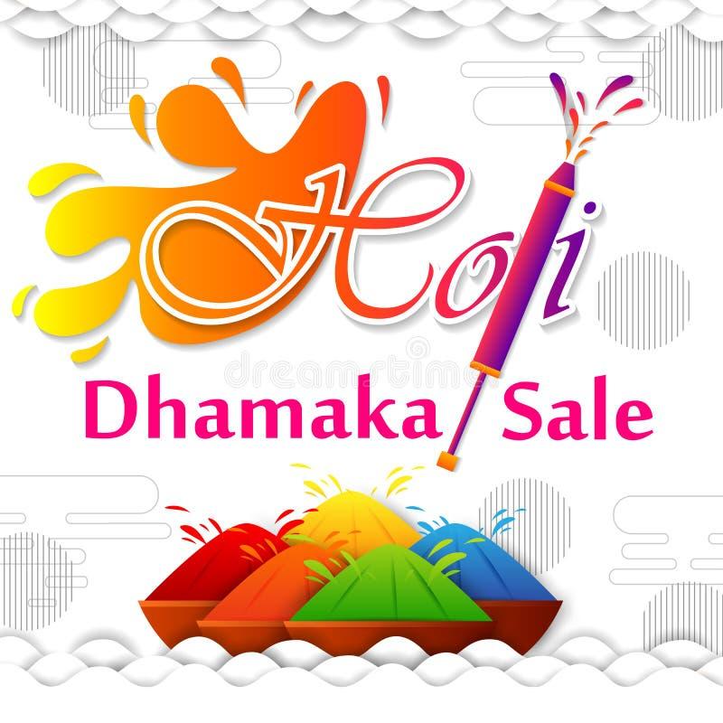 Festival da Índia do fundo feliz da venda da propaganda de Holi da cor ilustração do vetor
