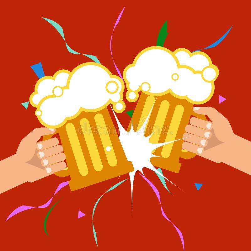 Festival da cerveja de outubro Duas mãos que guardam canecas de cerveja Vetor ilustração do vetor