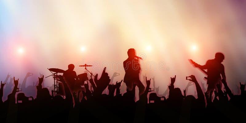 Festival da faixa da música do partido da multidão do concerto ilustração royalty free
