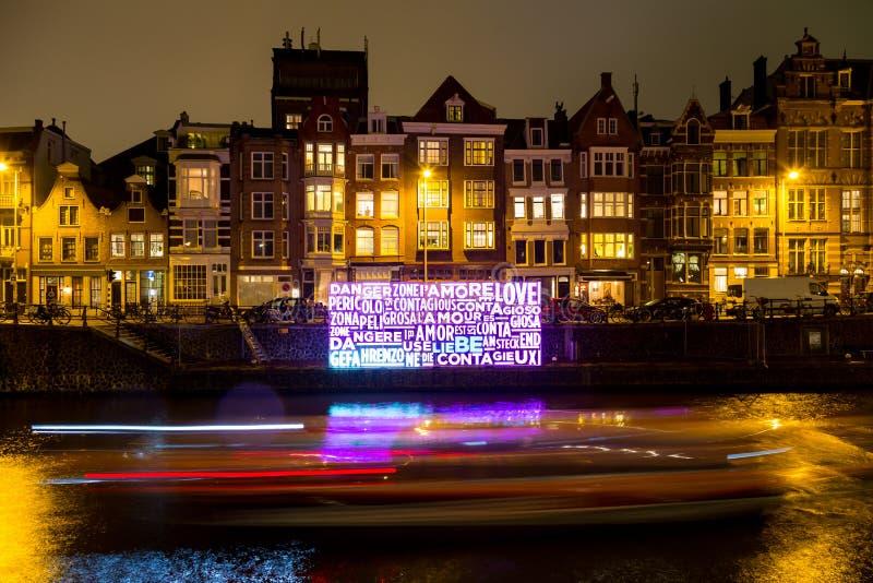 Festival 2016 da luz de Amsterdão - junto fotografia de stock royalty free