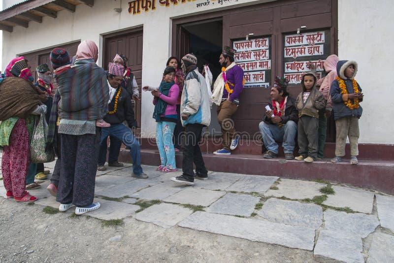 Festival dans le village de Marpha photos libres de droits