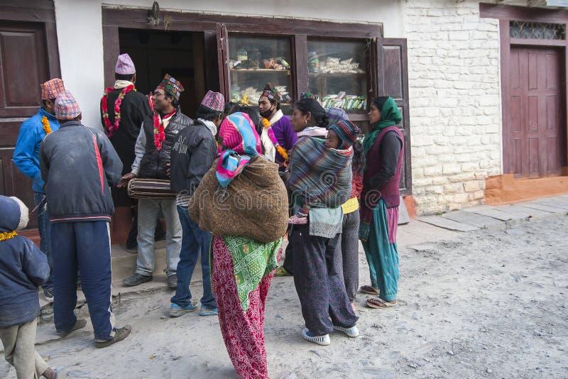 Festival dans le village de Marpha photo libre de droits