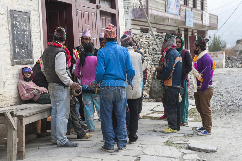 Festival dans le village de Marpha image stock
