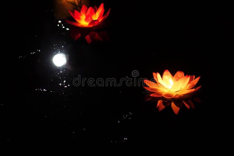 Festival das lanternas na água Molhe a lanterna na forma de Lotus com uma chama de vela que flutua na noite na água imagens de stock