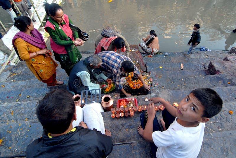 Festival de Bala Chaturdashi au Népal photographie stock libre de droits