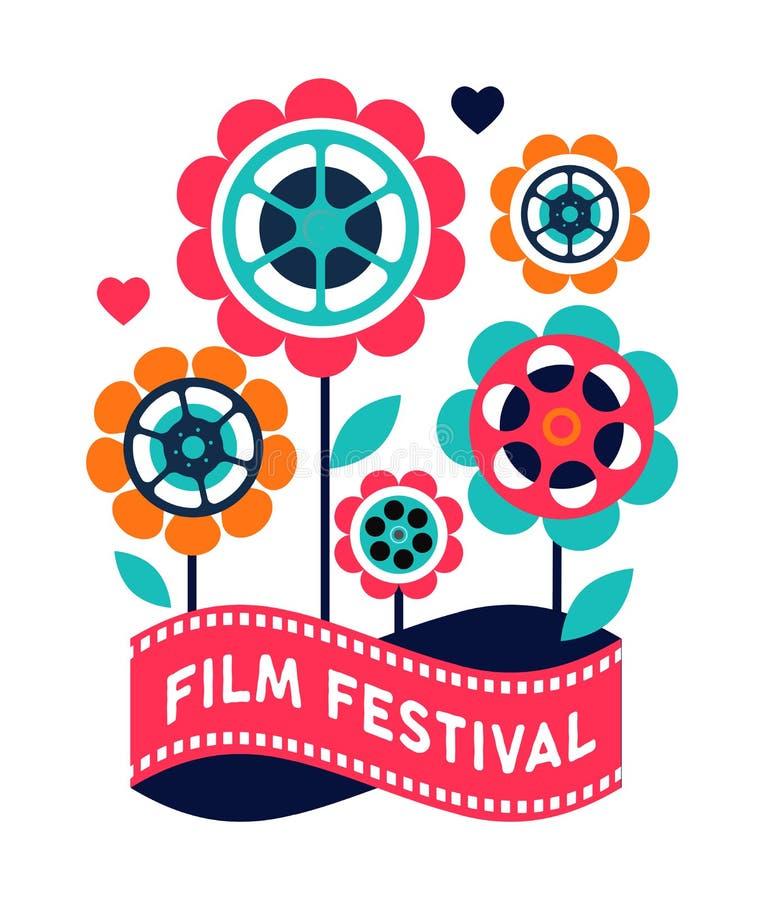 Festival de cinema, cinema e cartaz cinematográfico, conceito de projeto retro criativo do vetor ilustração stock
