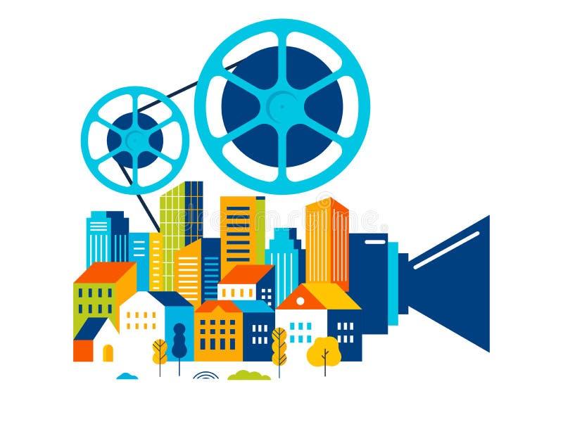 Festival de cinema, cinema e cartaz cinematográfico, conceito de projeto retro criativo do vetor ilustração do vetor