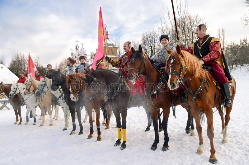 Festival de cosacos ucranianos en un parque en Kiev, el 26 de enero de 2013 fotos de archivo libres de regalías