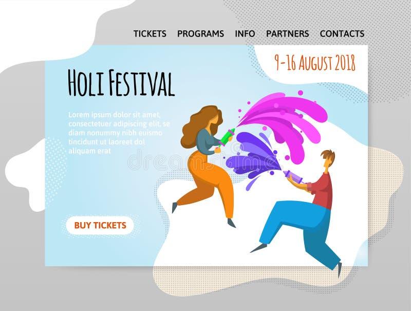 Festival de couleurs Holi Peinture heureuse de jet de garçon et de fille Dirigez l'illutration, calibre de conception de site, en illustration de vecteur