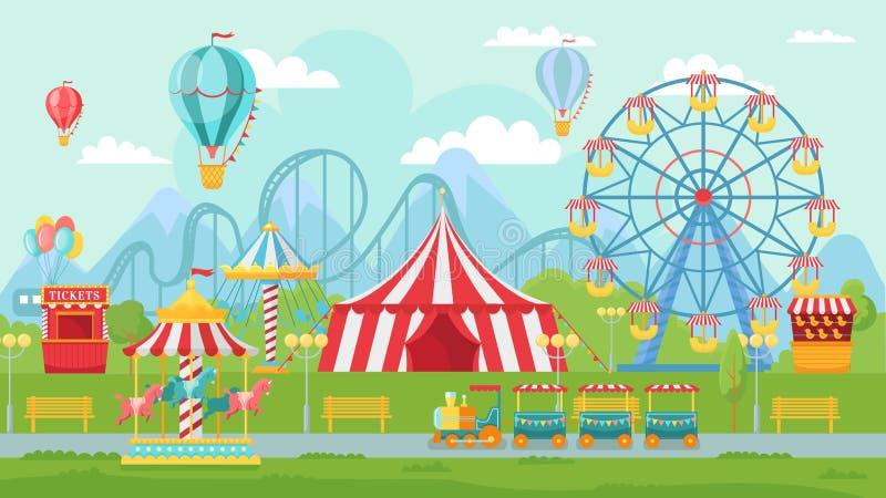 Festival de diversión del parque Las atracciones de la diversión ajardinan, los niños carrusel y ejemplo del vector de la atracci stock de ilustración