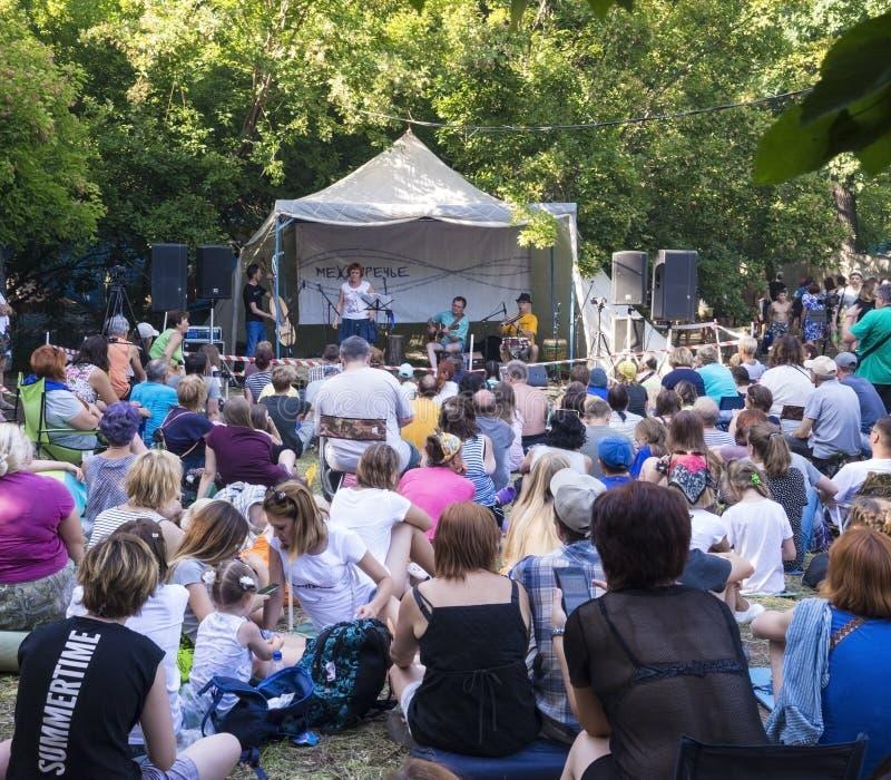 Festival de Grushinskiy en los lagos Mastrokosta en la región del Samara Día soleado del verano, el 11 de agosto de 2018 foto de archivo libre de regalías