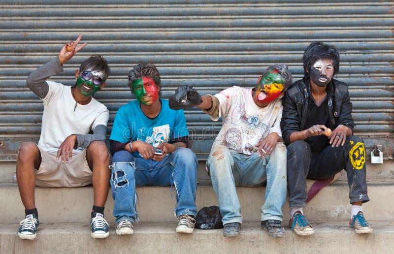 Festival de Holi à Katmandou, Népal images libres de droits