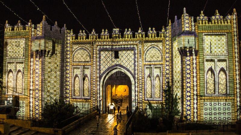 Festival de Jérusalem de lumière - porte de Damas photo libre de droits