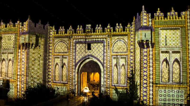 Festival de Jérusalem de lumière - porte de Damas images libres de droits