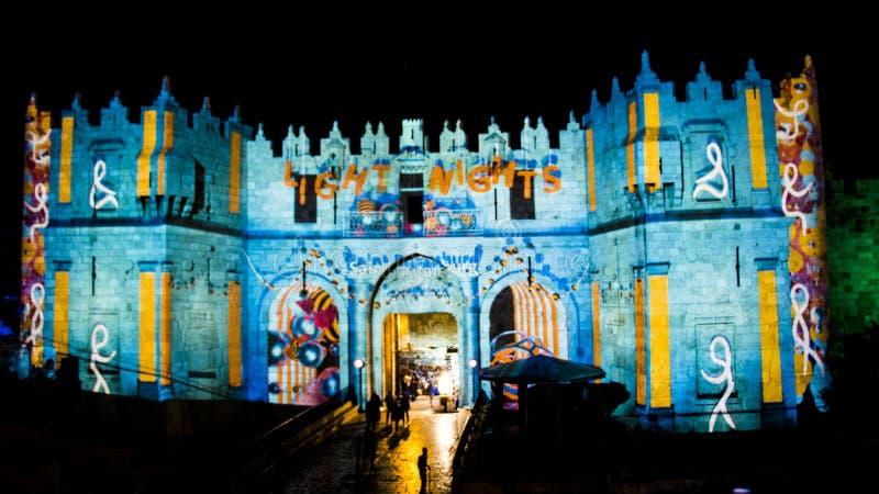 Festival de Jérusalem de la lumière 2018 dans la vieille ville images stock