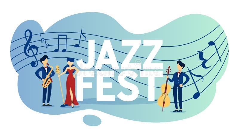 Festival de jazz et affiche acoustique d'événement de musique en direct illustration libre de droits