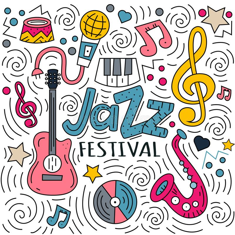 Festival de jazz et griffonnages de inscription tirés par la main illustration libre de droits