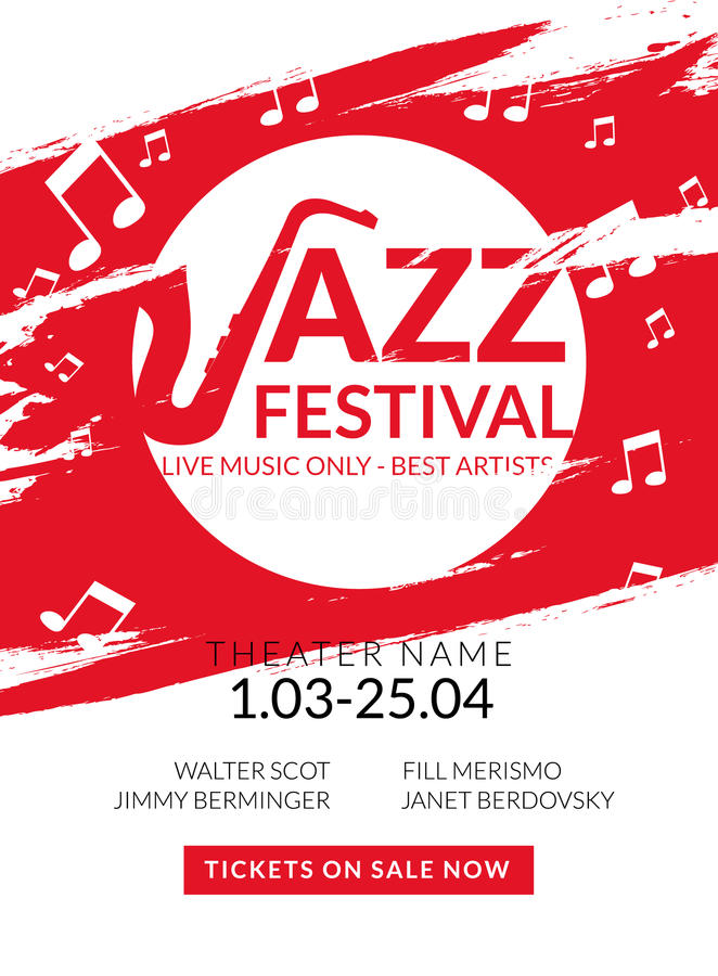 Festival de jazz musical del aviador del vector Bandera del festival del fondo del cartel de la música o plantilla del aviador libre illustration
