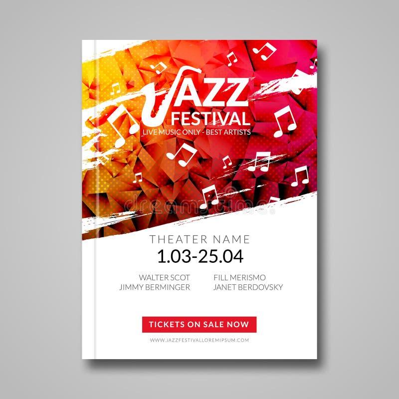 Festival de jazz musical del aviador del vector Plantilla del aviador del folleto del festival del fondo de la música stock de ilustración