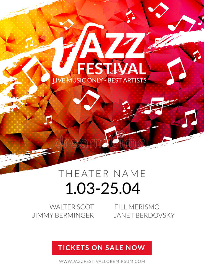 Festival de jazz musical del aviador del vector Plantilla del aviador del folleto del festival del fondo del cartel de la música libre illustration